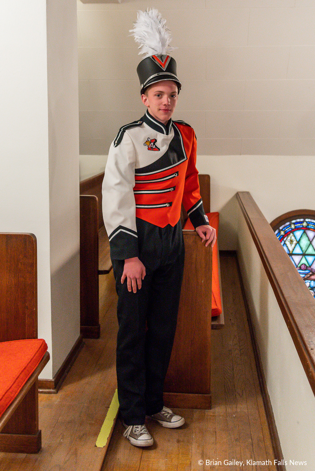 Tannyr Rose a KUHS Sophomore and trombone player models the concept uniform produced for the Klamath Union High School Marching Band. Final uniform may differ. January 15, 2018 (Brian Gailey)
