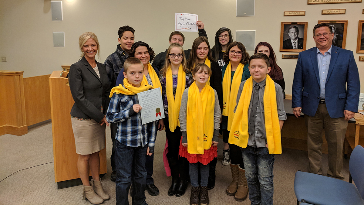Klamath County School Choice Proclamation on January 22,2019. Back Row: SCS student Christopher Lo, EHS students Joshua Connolly, Zoe Deal-Borges. Middle Row: Commissioner Kelly Minty Morris, SCS Director Anna Fowler, SCS students Summer Buckingham, Lilli Kopte, Sydney Fowler, EHS student Madison Clark, Commissioner Donnie Boyd. Front Row: SCS students Dominic Kopte, Kaitlynn Milano, Jesse Knight. (Submitted photo)