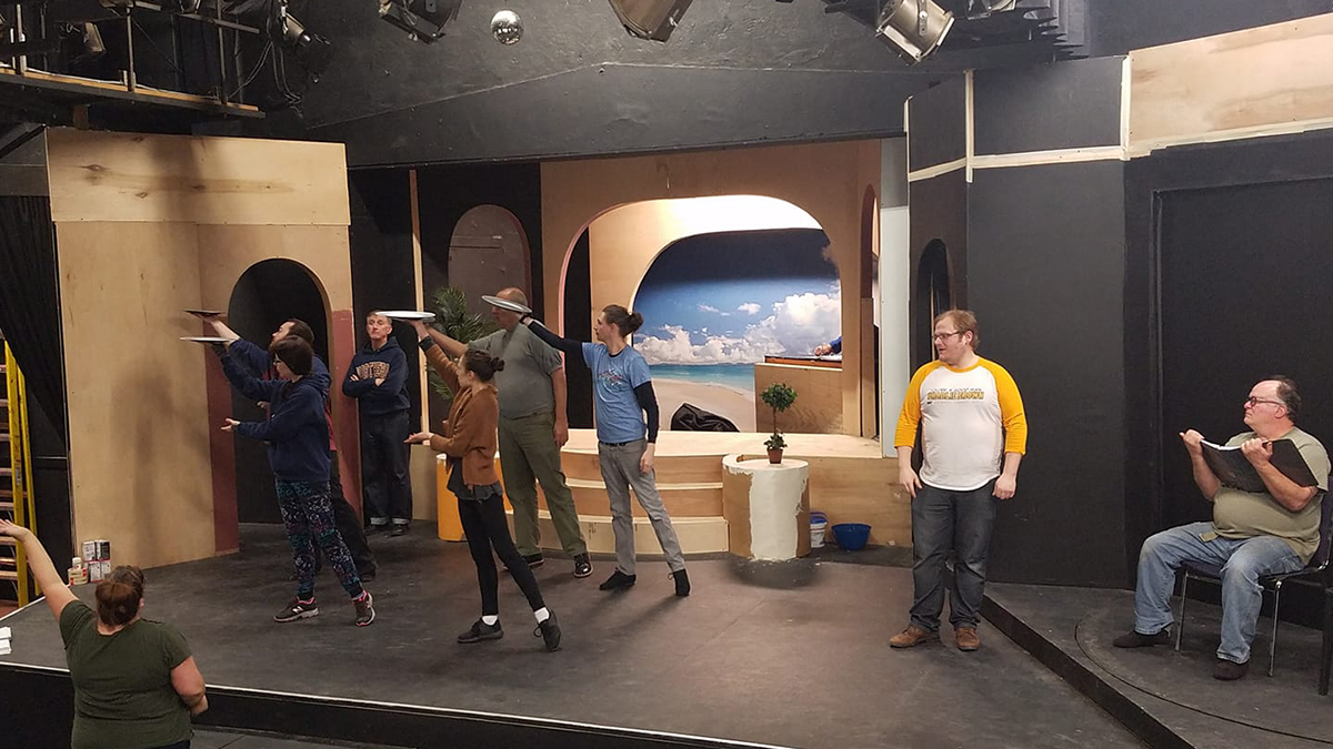 """Learning """"Great Big Stuff"""" under the direction of choreographer Sam Burris (lower left). Image, Chip Massie."""