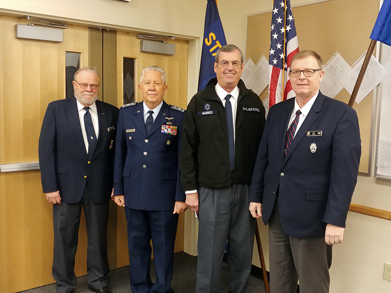 Civil Air Patrol Oregon Wing Command Staff: Colonel Longley, It Colonel Rogers Walker, Captain Cliff Warrick (Klamath Squadron new Commander) and Commander Colonel William Ray. Submitted photo.