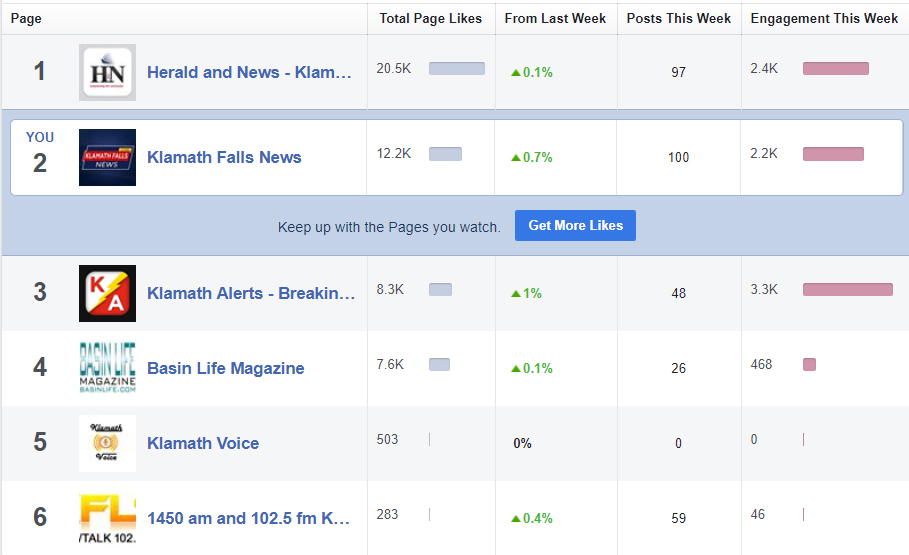 "Business Pages on Facebook track all sorts of analytics. One feature is ""Pages to Watch"" where it can compare a page to other pages of similar interest. The comparative results are from the previous seven days. Shown here, are analytics for Feb. 11-17, 2019. Thanks to our friends like you, this one man operation is keeping pace with the big dog that has dozens of talented employees, resources, and money."