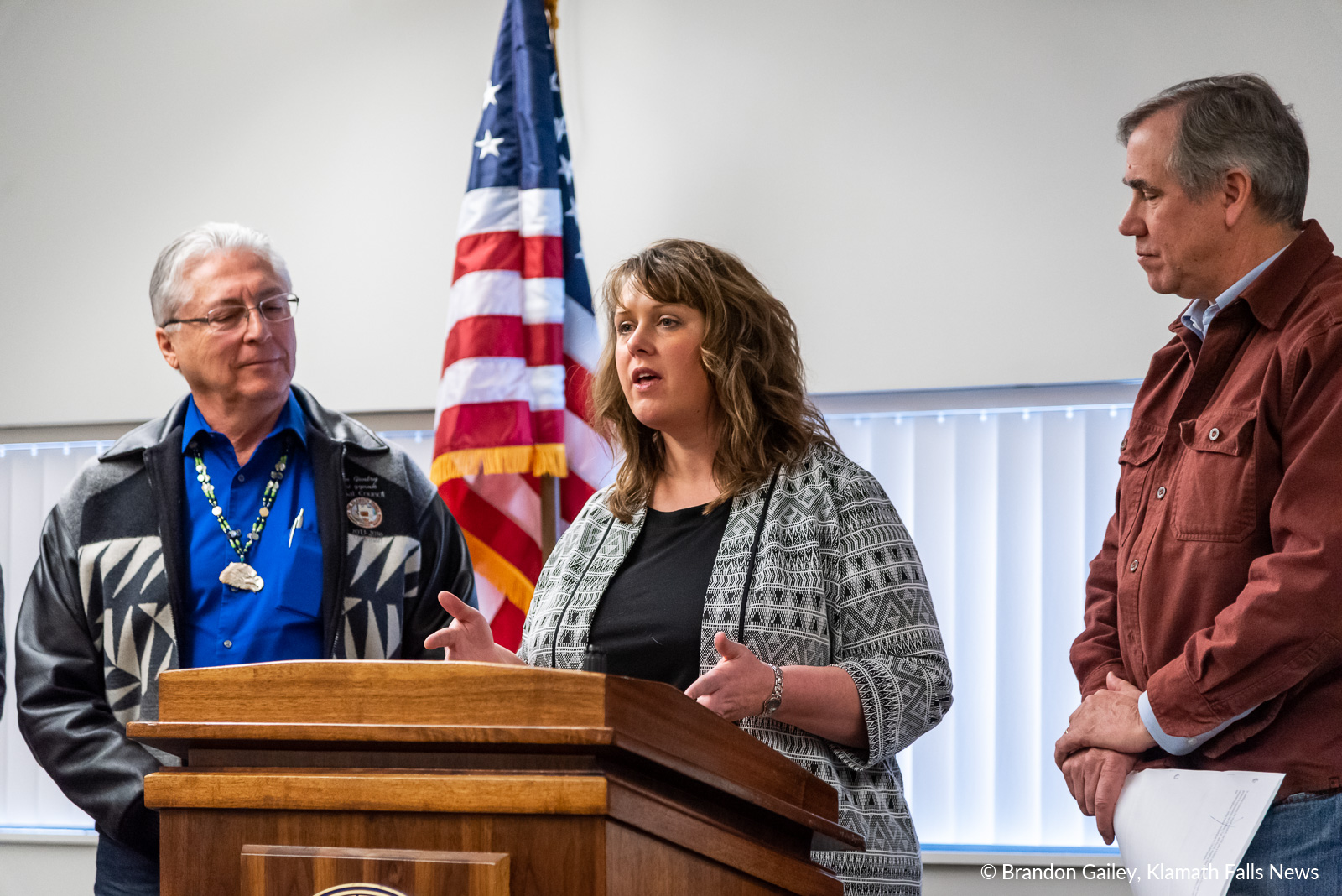 """""""Stability for our farms, survival of the species and success of our community all hinge on addressing the issues in collaborative, creative ways,"""" said Tricia Hill. February 23, 2019. (Brandon Gailey / Klamath Falls News)"""