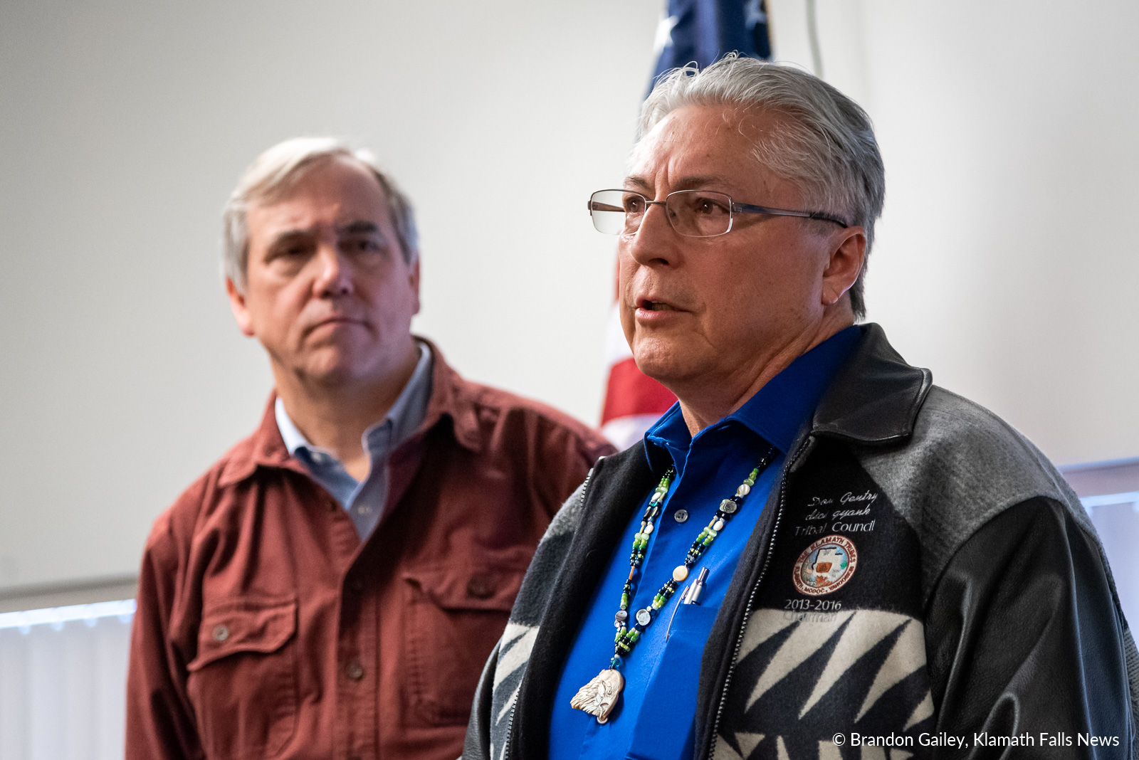 """""""I thank Senator Merkley for bringing folks in the Basin together to look at the real issues affecting Klamath Lake and the fish that are so important to us,"""" said Don Gentry, Chairman of the Klamath Tribes. February 23, 2019 (Brandon Gailey / Klamath Falls News)"""