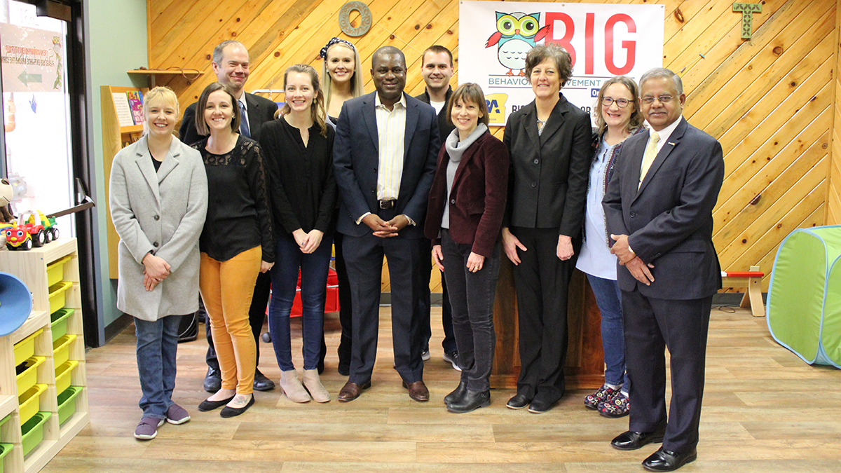 Pictured: CHA CEO, Tayo Akins, Oregon Tech President Dr. Nagi Naganathan, and BIG ABA Clinic Staff and Students. (Submitted photo)