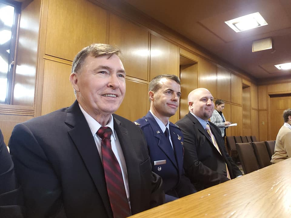 Reactions from Joe Spendolini, Col. Jeff Edwards, and Scott White while being introduced on the House floor by Rep. E. Werner Reschke. (Submitted Photo)