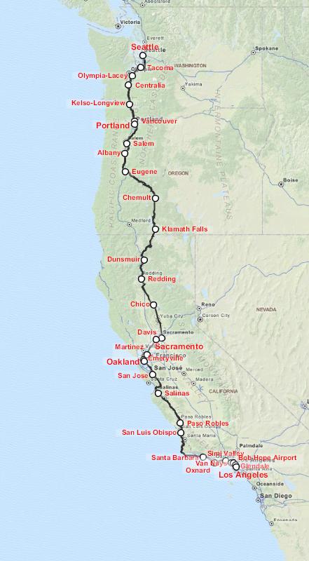 Map of the Coast Starlight. (Wikipedia)