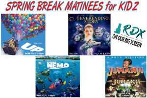 """Spring Break Matinee for KIDZ - March, 25-28 at 1:45pmJoin us at the Ross Ragland Theater for Spring Break March 25-28 at 1:45 pm each afternoon for movies on our New Big Screen (RDX) Ragland Digital Xperience. We will be showing four films for students in the afternoon at 1:45 pm after Spring Break Theater Camp. Tickets are $2 a person for each show. The Klamath County Library will have a drawing for a book give-away at each showing. Children 12 and under must have supervision.• Monday- Disney's """"UP""""• Tuesday- The Neverending Story• Tuesday Evening- Special Showing for the whole family @ 6:00 pm of The Neverending Story• Wednesday- Disney's """"Finding Nemo""""• Thursday- Jumanji"""