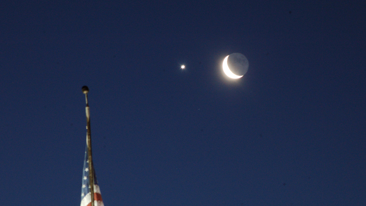 """An astronomy event focused on """"earthshine"""" will be offered Saturday, March 9, in Klamath Falls. This photo was taken in January over the American Legion building in Klamath Falls. (Submitted Photo)"""