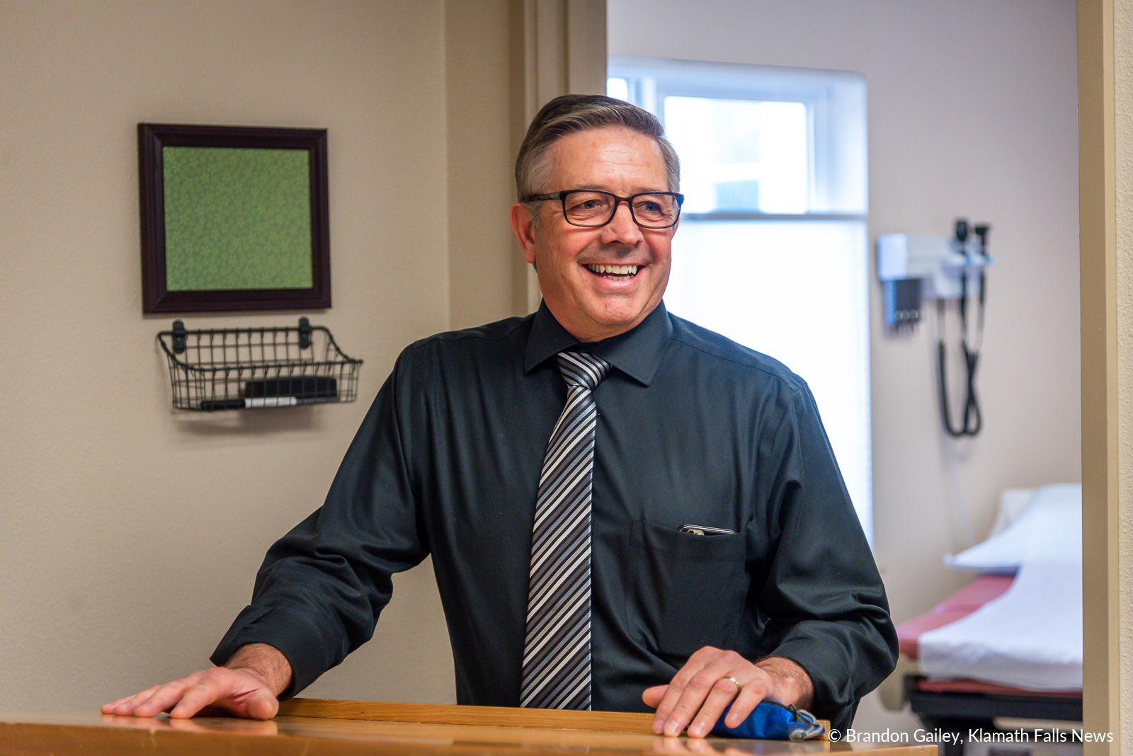 KCSD Superintendent Glen Szymoniak speaks about the benefits of having a Student Based Health Center on the Mazama High School Campus. March 9, 2019 (Brandon Gailey / Klamath Falls News)