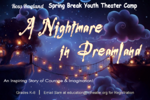 """A Nightmare in Dreamland - Saturday, March 30 at 2:00pm and 5:30pmLaughter and chaos has filled the halls this week at The Ross Ragland Theater ! The will Spring Break Youth Education Camp will present their camp production of """"A Nightmare in Dreamland"""" written by Klamath Falls locals Bonnie Hay and Erica Stover. Grades K-8 work all week to perfect their roles and prepare for their performance. """"I thoroughly enjoy watching my campers and our Camp Counselors interact. The children get to play, use their imaginations and build confidence."""" Said Education Director, Sam Burris. """"The Ross Ragland is very proud of this program.""""Tickets: $5"""