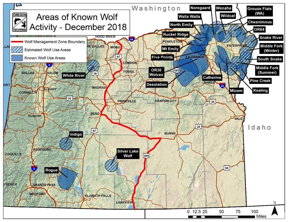 Areas of known Wolf activity - December 2018 (ODFW Draft Wolf Conservation and Management Plan)