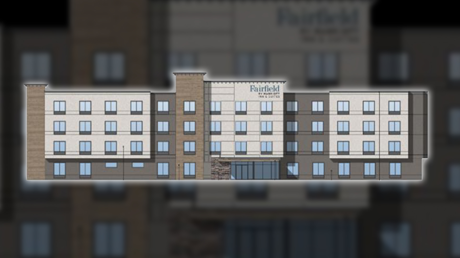 Front elevation rendering of the Fairfield Inn slated to be constructed in Timbermill Shores area of Downtown Klamath Falls. Ferguson Properties id the developer of the project.