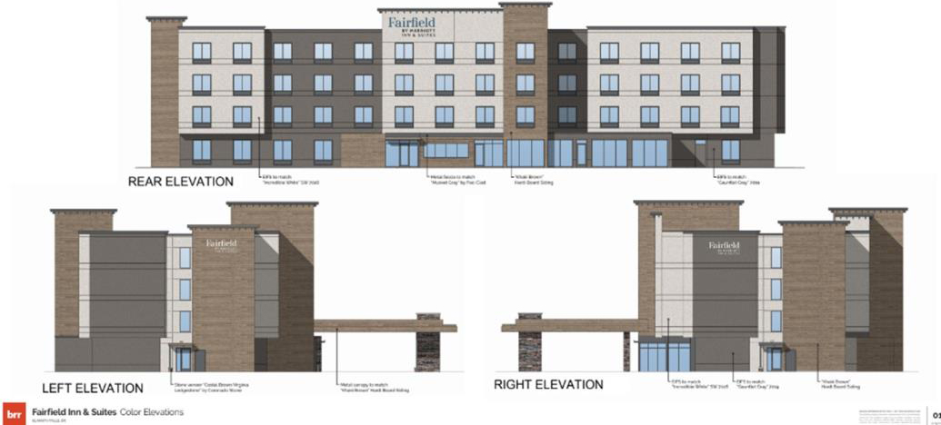 Renderings of the back and sides of Fairfield Inn, to be built in Klamath Falls.
