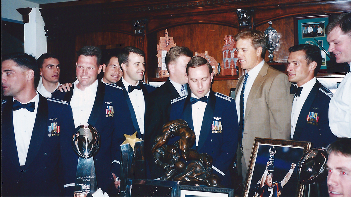 The 173rd Fighter Wing Commander and Vice Commander, Col. Jeff Smith and Jeff Edwards, are pictured together at a wedding in the early 2000s in Colorado Springs, Colorado. Edwards and Smith's careers have overlapped from the beginning at the Air Force Academy all the way to Kingsley Field in Klamath Falls, Oregon where they are the lead command team for the 173rd FW. (Courtesy photo from Col. Jeff Smith)