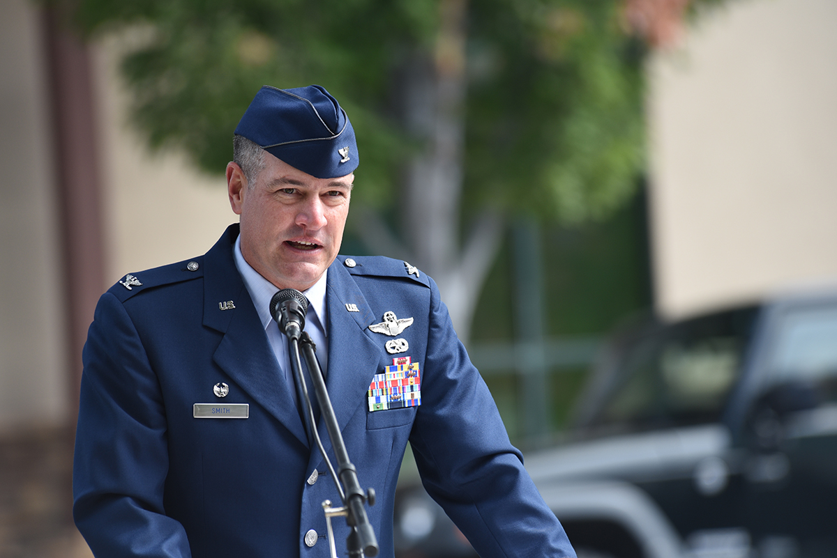 U.S. Air Force Colonel Jeff Smith, 173rd Fighter Wing commander, speaks during the 9/11 Patriot Day rememberance ceremony in Klamath Falls, Oregon Sept. 11, 2018. Members of the Klamath Falls community gathered at the court house to remember the lives lost during the terrorist attack 17 years ago. (U.S. Air National Guard photo by Senior Master Sgt. Jennifer Shirar)