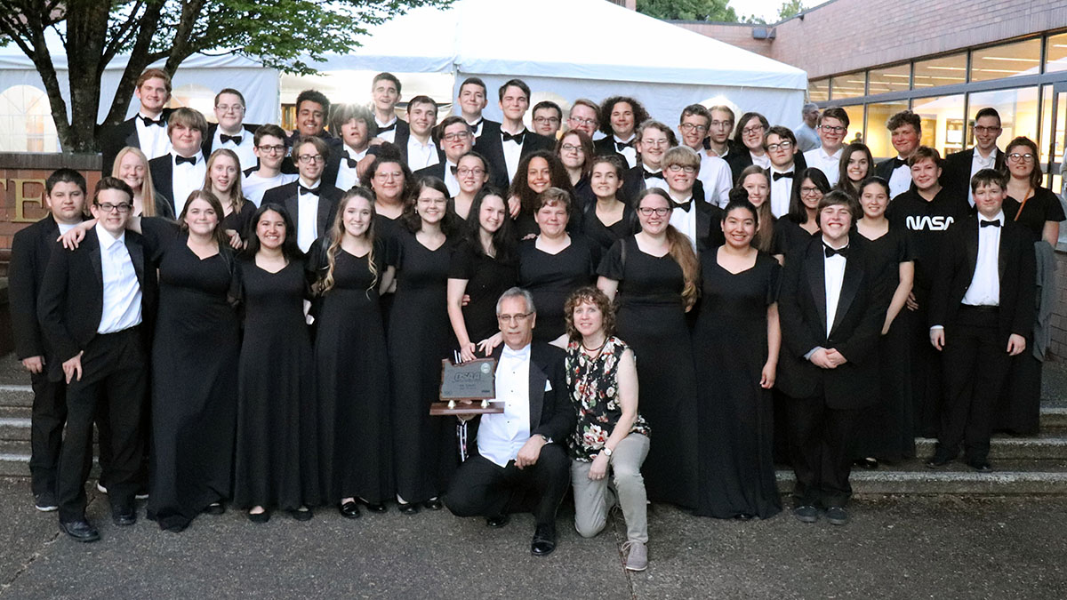 The Mazama High School Symphonic Band stands for a group photo following thier second place victory at the OSAA State Championships in Corvallis, Oregon. May 8, 2019. Submitted photo.