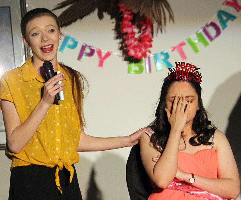 Mother, played by Brianna Eichelkraut, tells stories during her daughter's (played by Avelina Alfaro) sweet 16 birthday party. The party was not what Alfaro expected.