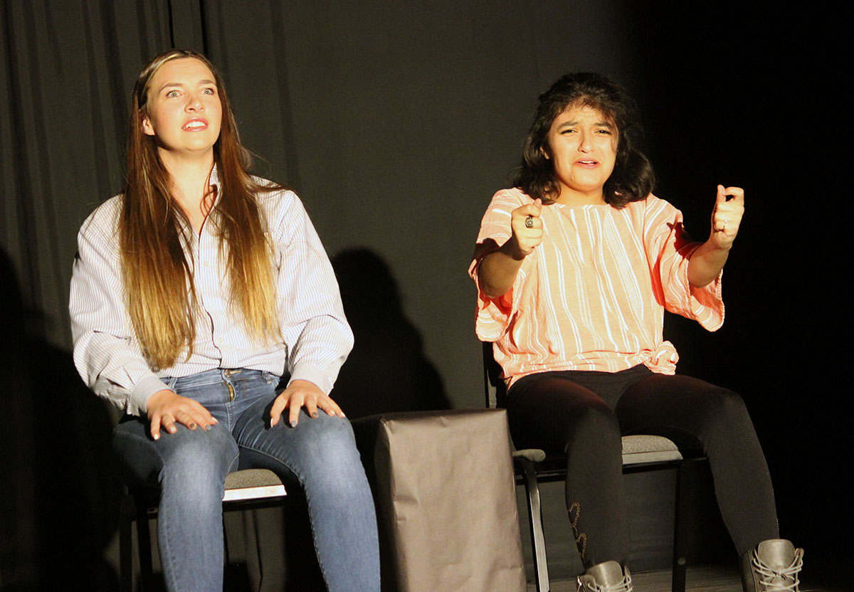 """Danielle Herinckx (mother) and Star Murillo (daughter) react to Star's first driving lesson during scene 9 of the comedy """"Parents Just Don't Understand."""""""