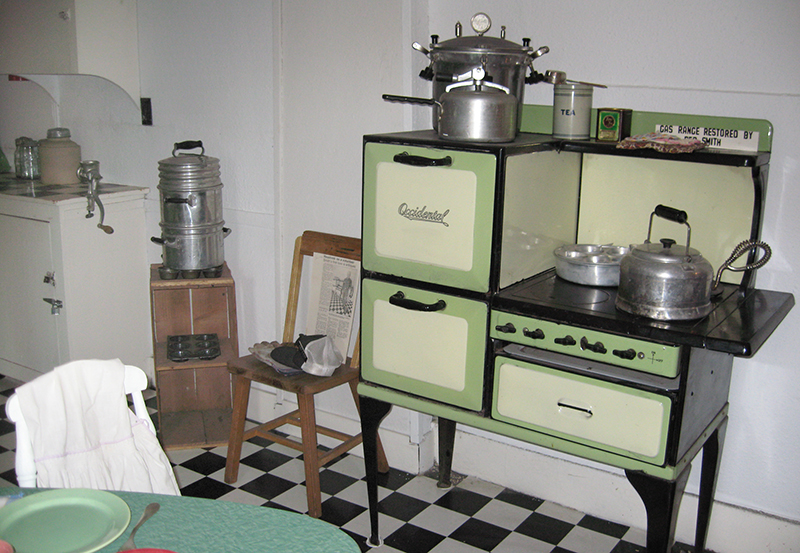 Antique kitchen appliances are part of the collection at the Baldwin Hotel Museum.