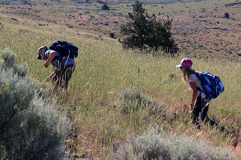 Bonanza sixth-graders Aaron Neighbors and Kelsey Whitaker on the trail to the summit of Hogback Mountain.