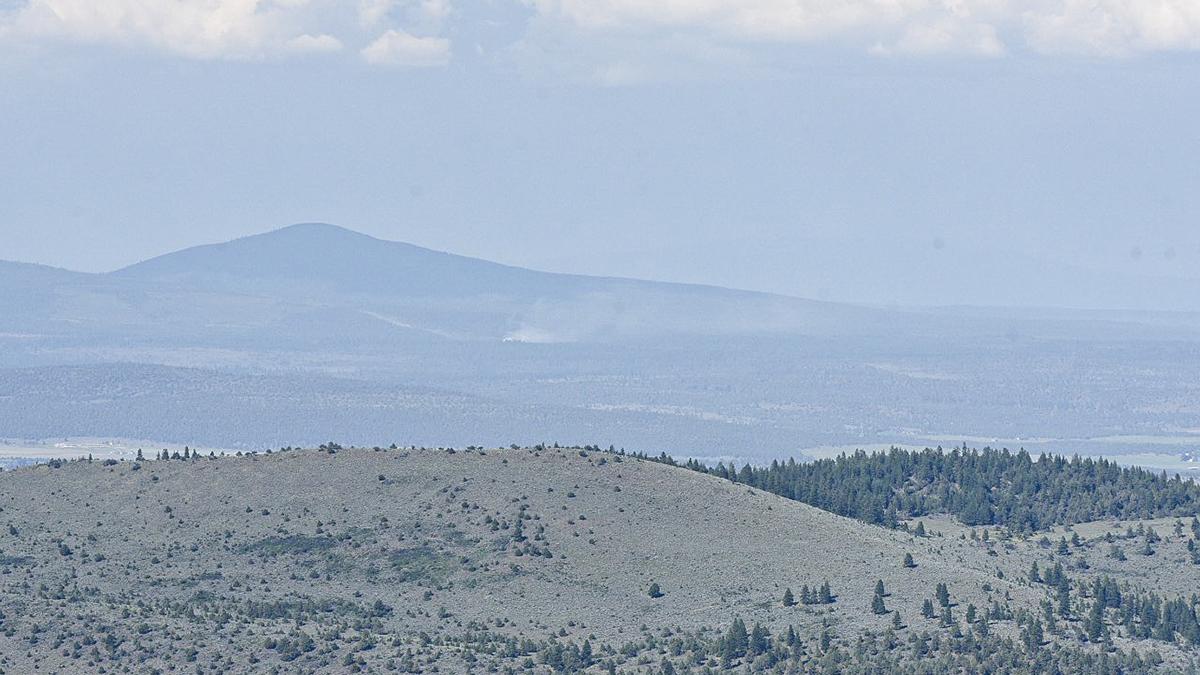 From the top of Stukel Mountain, looking toward the northeast. Smoke can be seen toward the area of Bly Mountain / Bonanza. June 13, 2019. (Image, Brian Gailey / Klamath Falls News).