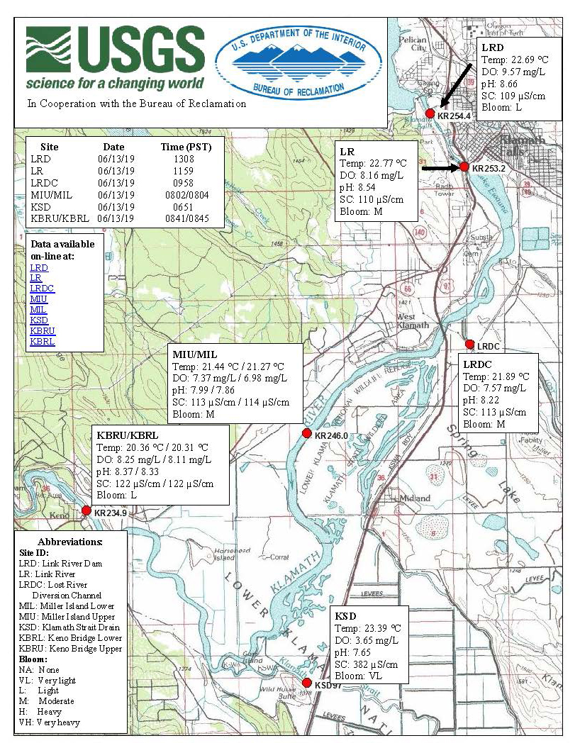 USGS, BOR Water Quality Update for the Upper Klamath River for June 13, 2019.