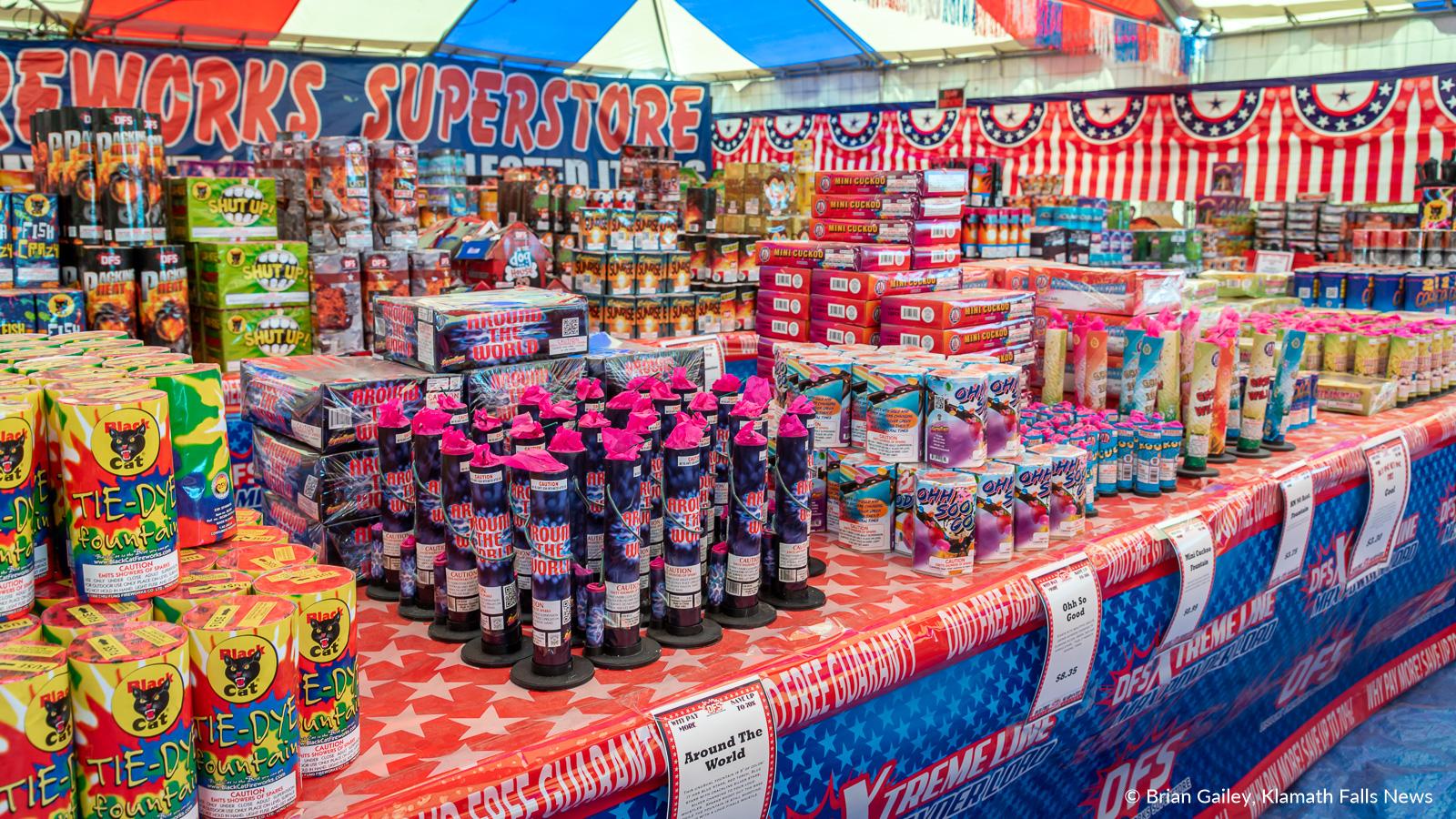 Legal Oregon fireworks for sale at Discount Fireworks Superstore on Washburn Way in Klamath Falls. June 28, 2019 (Image, Brian Gailey / Klamath Falls News)