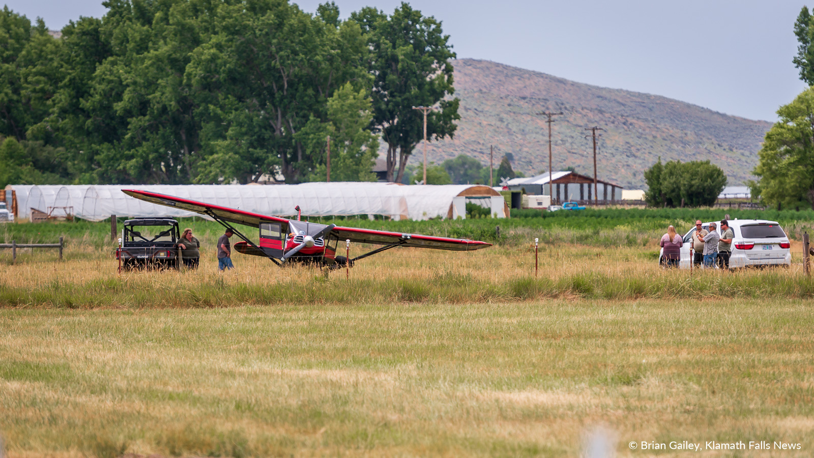 A single engine aircraft crashed in a field south of the Crater Lake - Klamath Regional Airport Tuesday afternoon just after takeoff. July 9, 2019 (Image, Brian Gailey, Klamath Falls News)