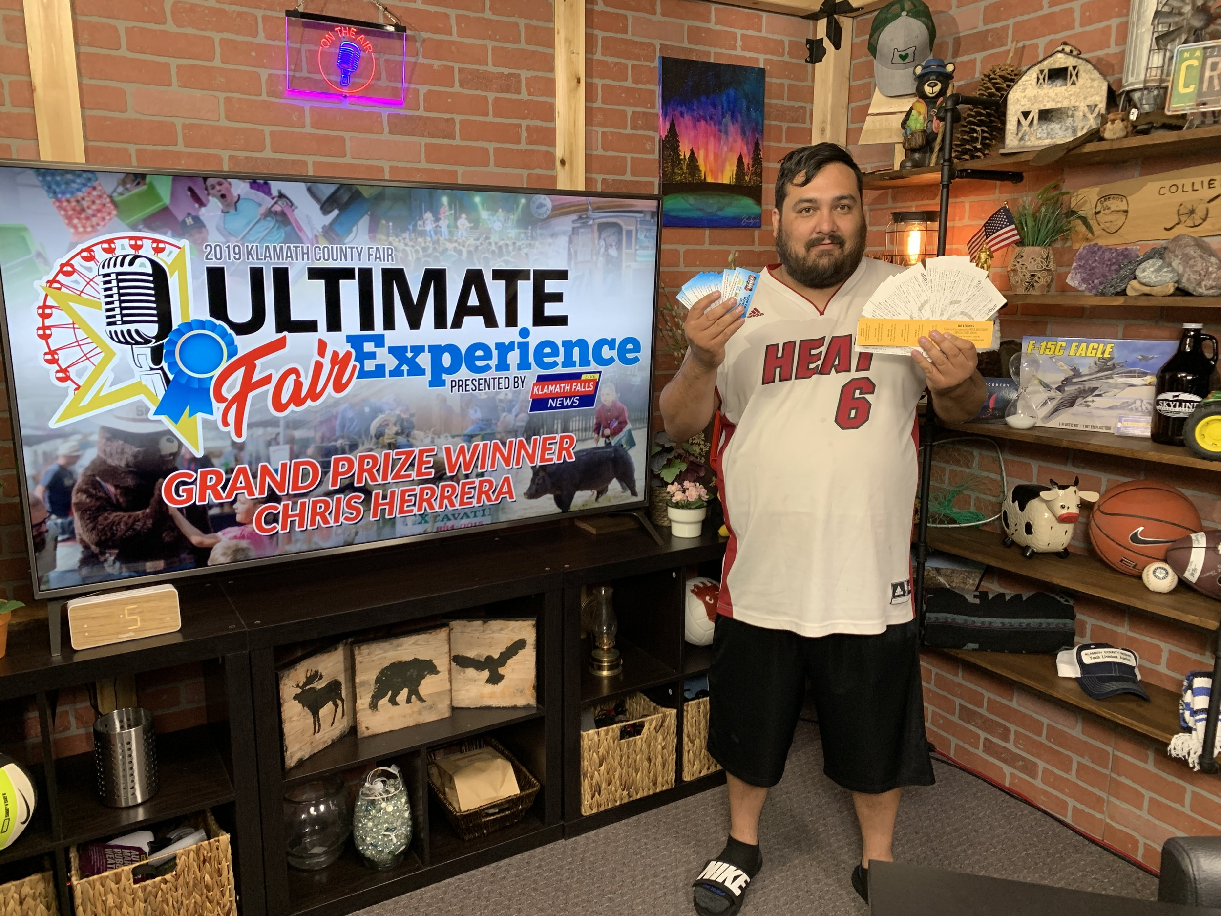 Grand Prize: Chris Herrera - • 2 Party Zone tickets to Midland• 2 Party Zone tickets to Jon Wolfe• 2 Party Zone tickets to Lonestar• 2 Friday night Rodeo tickets• 2 Saturday night Rodeo tickets• 4 Golden Carnival wristband coupons• 4 2019 Klamath County Fair Season Passes• $100 in fair food