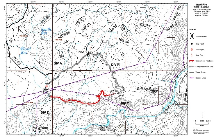 Map of the Ward Fire, August 11, 2019