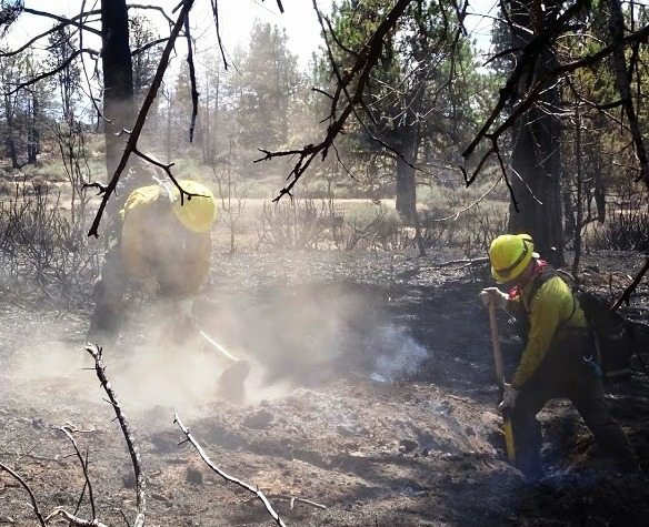 Good progress was made on the mop-up operations on western flank today, however, there is still fireline to construct and hold on the steep rugged ridge line about Klamath River. (Ward Fire Facebook)