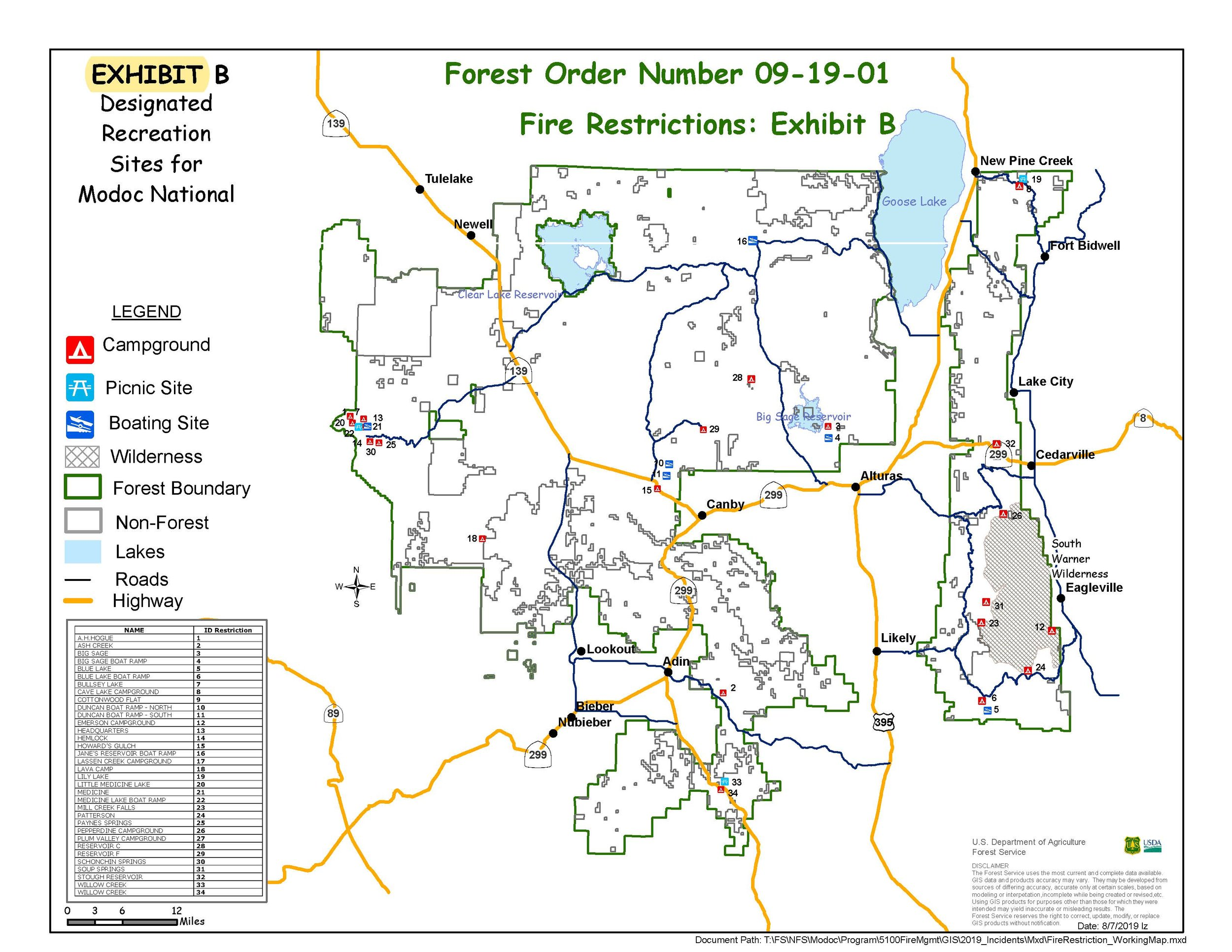 Forest Order No. 09-19-01, Exhibit B - Map of designated recreation sites for Modoc National Forest. (click for larger)