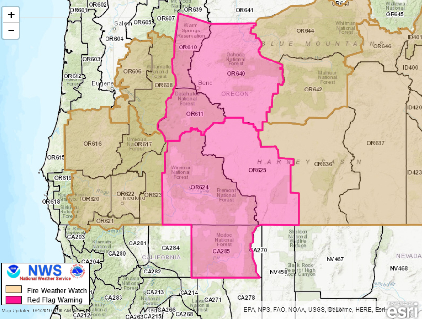 Red Flag Warning has been issued for parts of Oregon and Northern California for September 5, 2019.  https://www.wrh.noaa.gov/fire2/?wfo=mfr