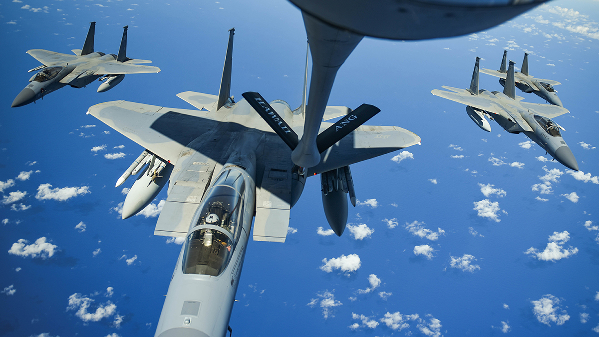 United States Air Force F-15 Eagles from the 173rd Fighter Wing out of Kingsley Field in Klamath Falls, Oregon, receive fuel from a Hawaii Air National Guard KC-135 over the Pacific Ocean during the Sentry Aloha exercise at Joint Base Pearl Harbor-Hickam, August 27, 2019. Aircraft from around the world took part in Joint Exercise Sentry Aloha, a three week coalition exercise at Joint Base Pearl Harbor-Hickam in Honolulu, Hawaii. (U.S. Air National Guard Photo by Airman First Class Adam Smith)