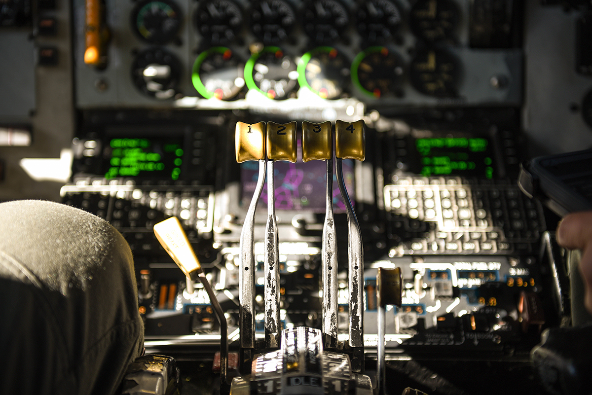 Pilots prepares for takeoff aboard a United States Air Force KC-135 carrying Airmen from 173rd Fighter Wing at Kingsley Field in Klamath Falls, Oregon, August 16, 2019. These Airmen are supporting operations during Sentry Aloha, a three week long joint exercise at Joint Base Pearl Harbor-Hickam in Honolulu, Hawaii. (U.S. Air National Guard Photo by Airman First Class Adam Smith)