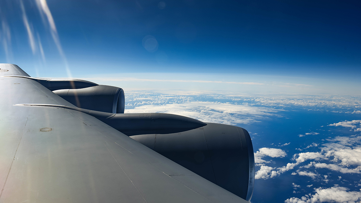 A United States Air Force KC-135 flies over the Pacific Ocean while transporting 173rd Fighter Wing Airmen from Kingsley Field in Klamath Falls, Oregon, August 16, 2019. These Airmen are supporting operations during Sentry Aloha, a three week long joint exercise at Joint Base Pearl Harbor-Hickam in Honolulu, Hawaii. (U.S. Air National Guard Photo by Airman First Class Adam Smith)