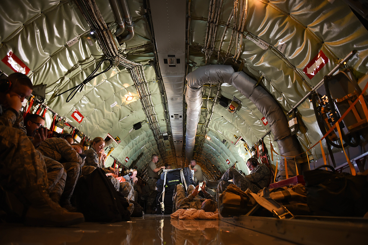 Airmen from the 173rd Fighter Wing at Kingsley Field in Klamath Falls, Oregon, ride aboard a United States Air Force KC-135 August 16, 2019. These Airmen are supporting operations during Sentry Aloha, a three week long joint exercise at Joint Base Pearl Harbor-Hickam in Honolulu, Hawaii. (U.S. Air National Guard Photo by Airman First Class Adam Smith)