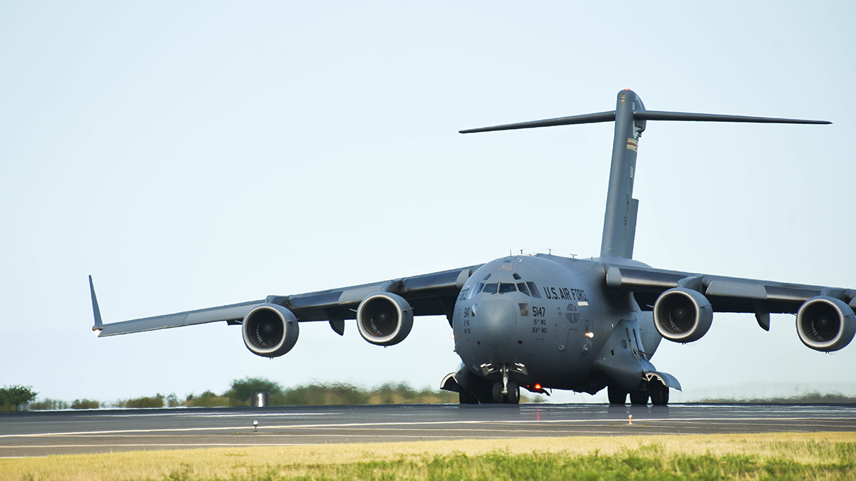 A United States Air Force C-17 from Joint Base Pearl Harbor-Hickam in Honolulu, Hawaii, takes off from Joint Base Pearl Harbor-Hickam, August 21, 2019. Aircraft from around the world took part in Joint Exercise Sentry Aloha, a three week coalition exercise at Joint Base Pearl Harbor-Hickam in Honolulu, Hawaii. (U.S. Air National Guard Photo by Airman First Class Adam Smith)