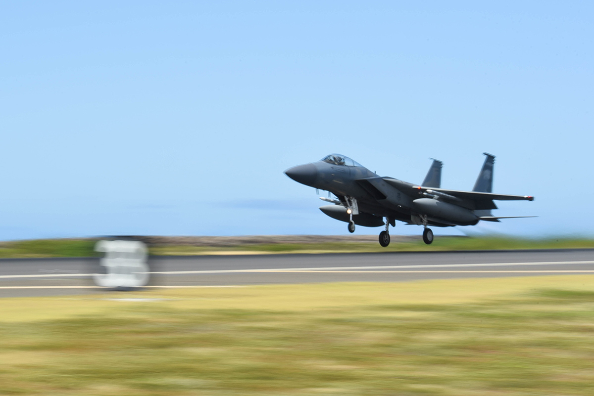 A United States Air Force F-15 Eagle from the 173rd Fighter Wing out of Kingsley Field Ain Klamath Falls, Oregon, takes off from Joint Base Pearl Harbor-Hickam, August 21, 2019. Aircraft from around the world took part in Joint Exercise Sentry Aloha, a three week coalition exercise at Joint Base Pearl Harbor-Hickam in Honolulu, Hawaii. (U.S. Air National Guard Photo by Airman First Class Adam Smith)