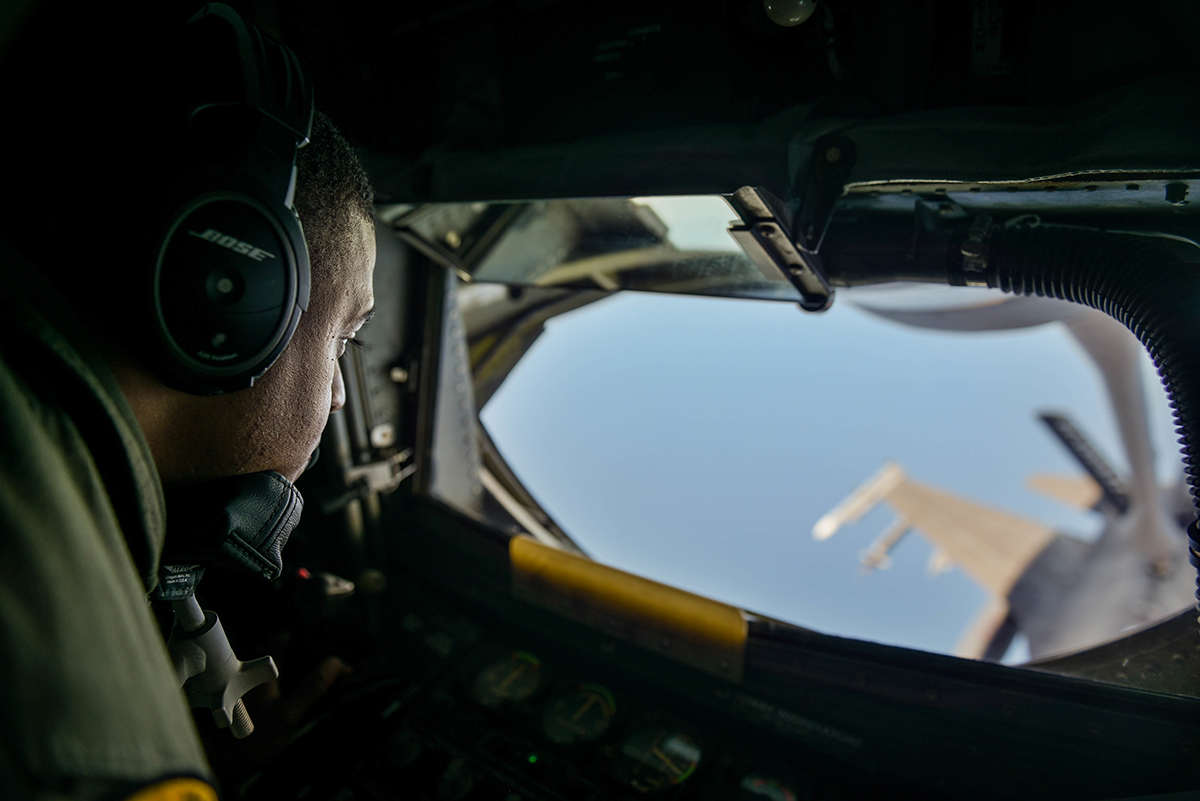 U.S. Air Force Technical Sergeant Shane Williams, 203rd Air Refueling Squadron Boom Operator, refuels a F-16 Fighting Falcon from Tulsa Air National Guard Base in Tulsa, Oklahoma, during the Sentry Aloha exercise at Joint Base Pearl Harbor-Hickam, August 27, 2019. Aircraft from around the world took part in Joint Exercise Sentry Aloha, a three week coalition exercise at Joint Base Pearl Harbor-Hickam in Honolulu, Hawaii. (U.S. Air National Guard Photo by Airman First Class Adam Smith)