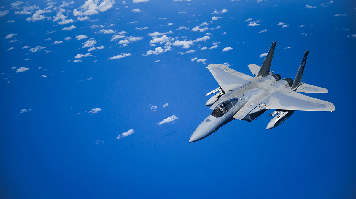 A United States Air Force F-15 Eagle from the 173rd Fighter Wing out of Kingsley Field in Klamath Falls, Oregon, flies over the Pacific Ocean during the Sentry Aloha exercise at Joint Base Pearl Harbor-Hickam, August 27, 2019. Aircraft from around the world took part in Joint Exercise Sentry Aloha, a three week coalition exercise at Joint Base Pearl Harbor-Hickam in Honolulu, Hawaii. (U.S. Air National Guard Photo by Airman First Class Adam Smith)