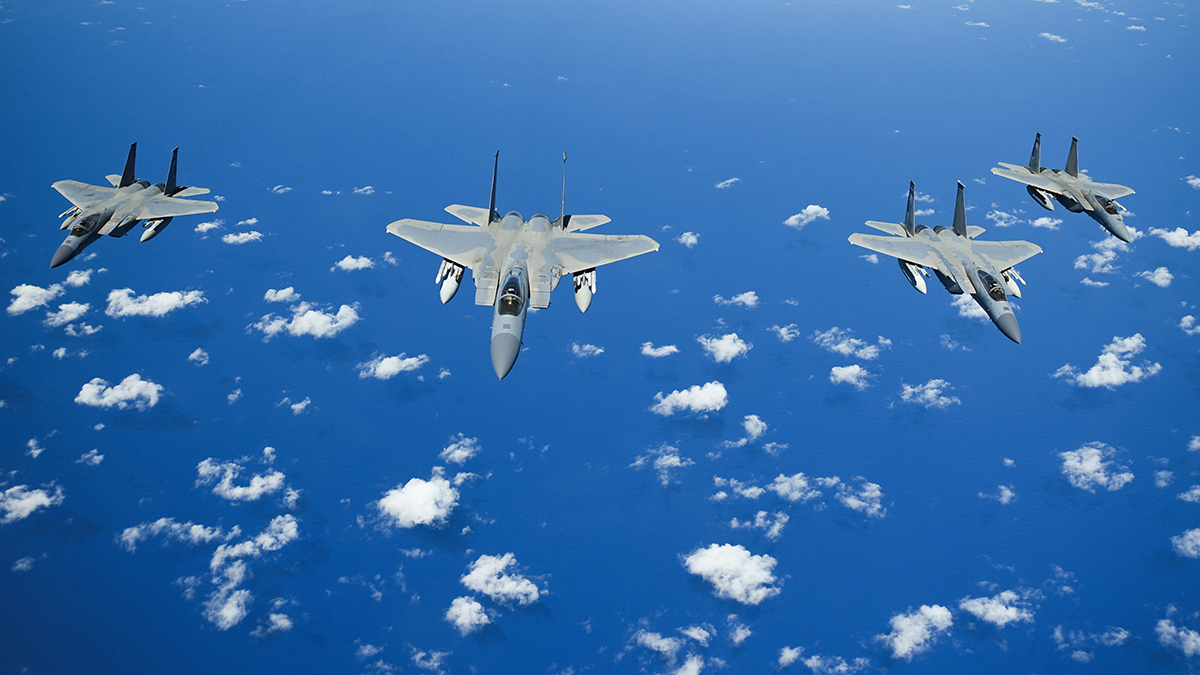 United States Air Force F-15 Eagles from the 173rd Fighter Wing out of Kingsley Field in Klamath Falls, Oregon, fly in formation over the Pacific Ocean during the Sentry Aloha exercise at Joint Base Pearl Harbor-Hickam, August 27, 2019. Aircraft from around the world took part in Joint Exercise Sentry Aloha, a three week coalition exercise at Joint Base Pearl Harbor-Hickam in Honolulu, Hawaii. (U.S. Air National Guard Photo by Airman First Class Adam Smith)