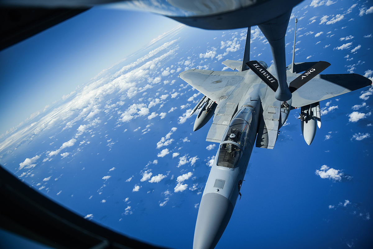 A United States Air Force F-15 Eagle from the 173rd Fighter Wing out of Kingsley Field in Klamath Falls, Oregon, receives fuel from a Hawaii Air National Guard KC-135 over the Pacific Ocean during the Sentry Aloha exercise at Joint Base Pearl Harbor-Hickam, August 27, 2019. Aircraft from around the world took part in Joint Exercise Sentry Aloha, a three week coalition exercise at Joint Base Pearl Harbor-Hickam in Honolulu, Hawaii. (U.S. Air National Guard Photo by Airman First Class Adam Smith)