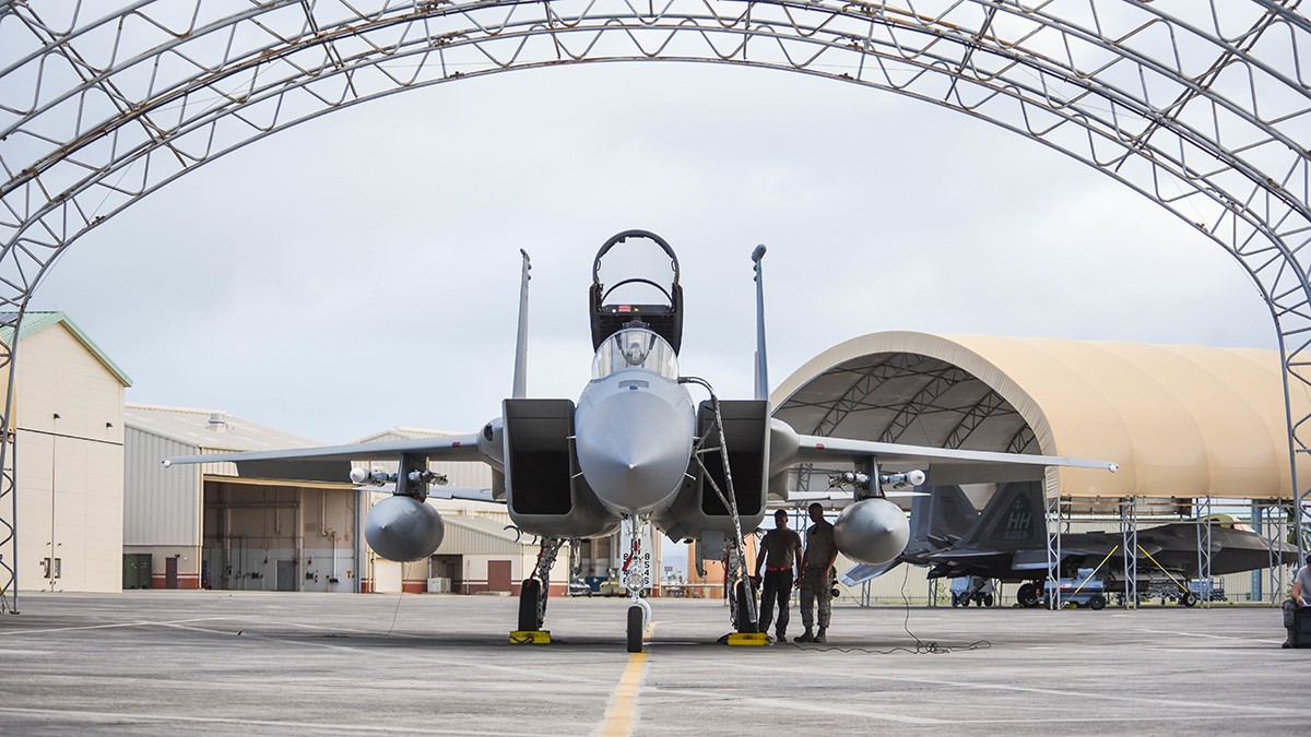 A U.S. Air Force F-15 Eagle from Kingsley Field in Klamath Falls, Oregon, sits ready on the ramp during the Sentry Aloha exercise at Joint Base Pearl Harbor-Hickam, August 21, 2019. Aircraft from around the world took part in Joint Exercise Sentry Aloha, a three week coalition exercise at Joint Base Pearl Harbor-Hickam in Honolulu, Hawaii. (U.S. Air National Guard Photo by Airman First Class Adam Smith)