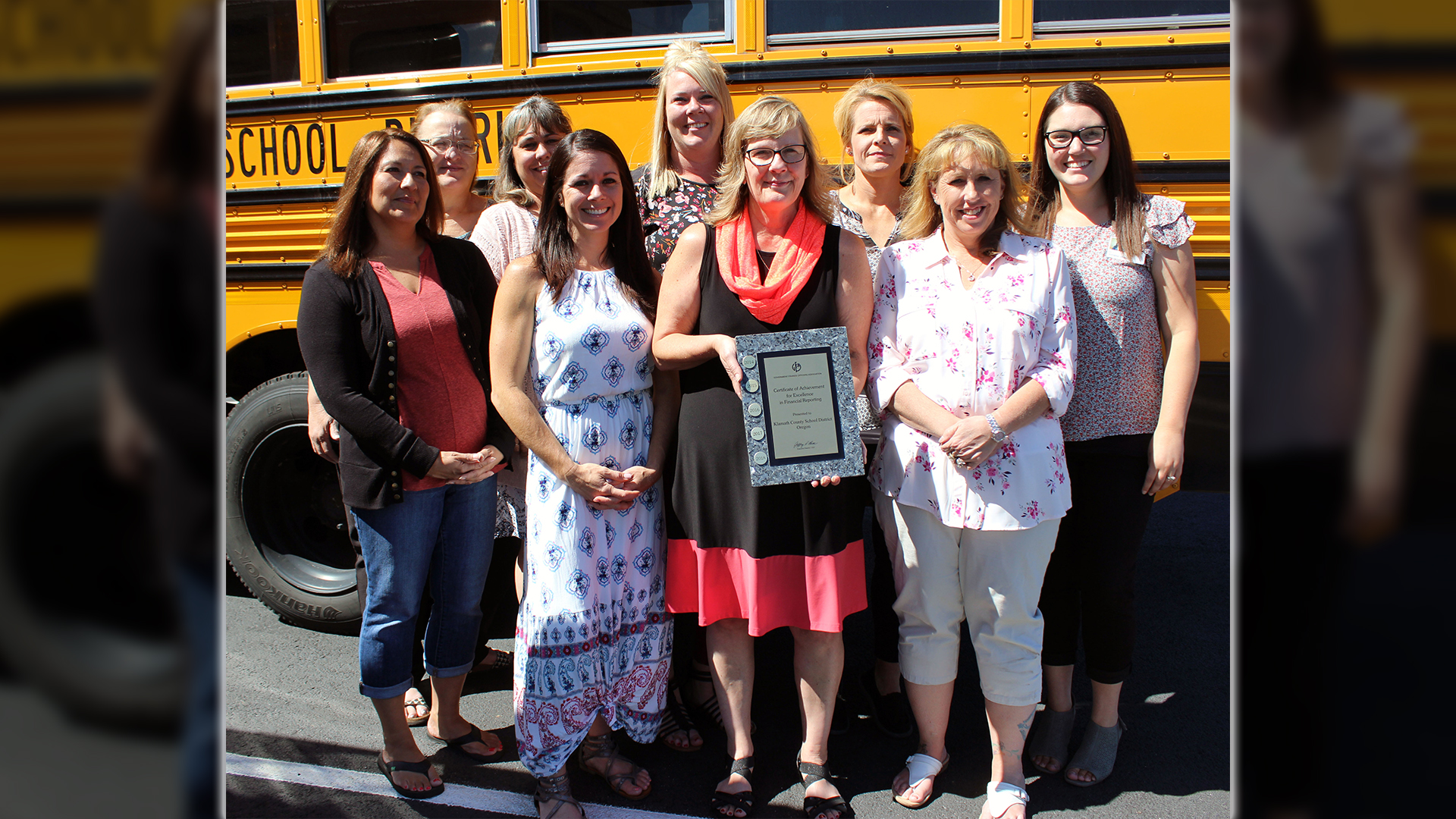 Members of KCSD's business services office whose work earned the department its fifth Certificate of Achievement for Excellence in Financial Reporting from the Government Finance Officers Association of the U.S. and Canada pose for a photo. Pictured are back row, from left: Connie Lakey, Dena Hadwick, Nancy Drake, Lana Loney, Annalise Milwrick. Front row, from left: Rachel Murray, Mindy Markee, Renée Ferguson, director of business services; and Denise Reid. Not pictured is Tammy Cosand.