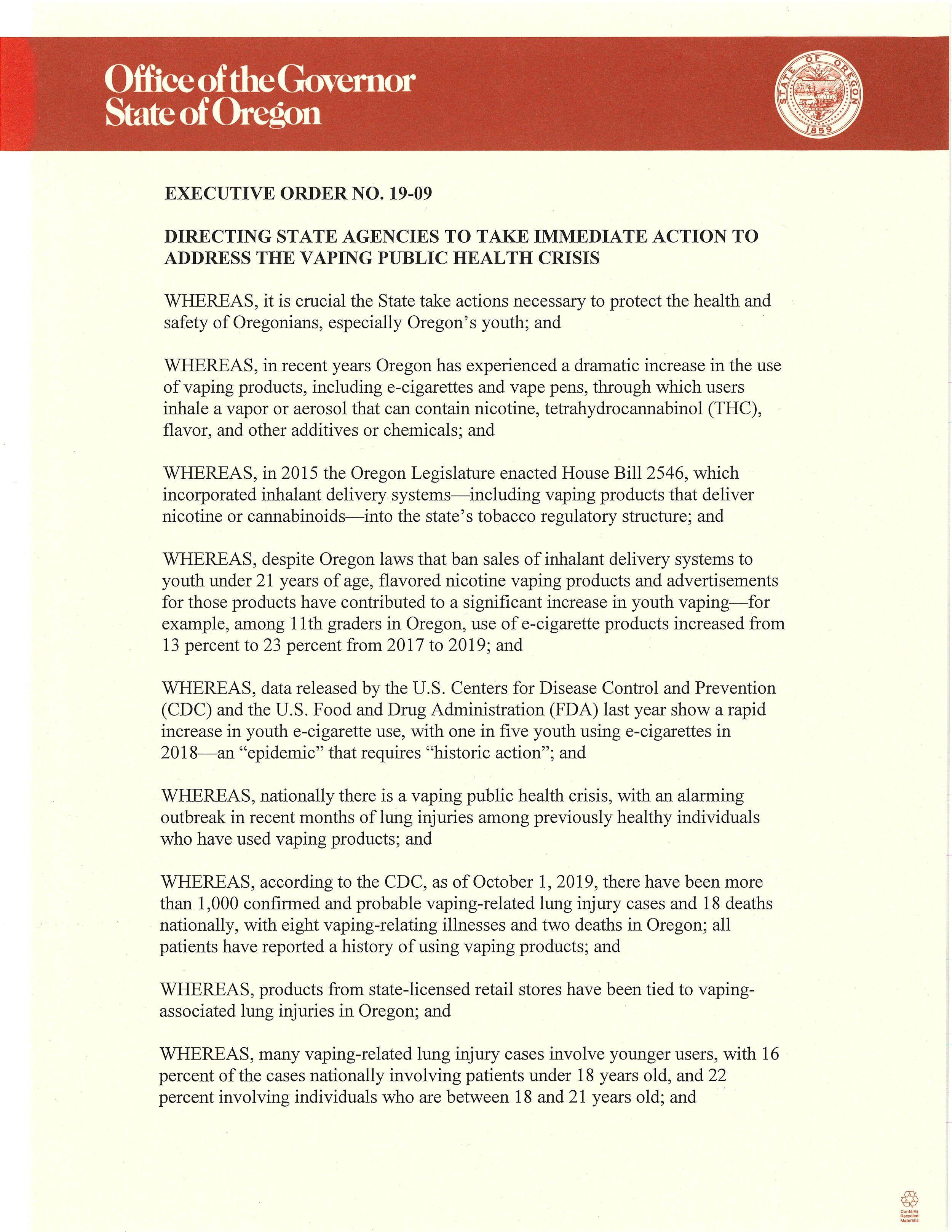 Executive order 19-09. Click for PDF