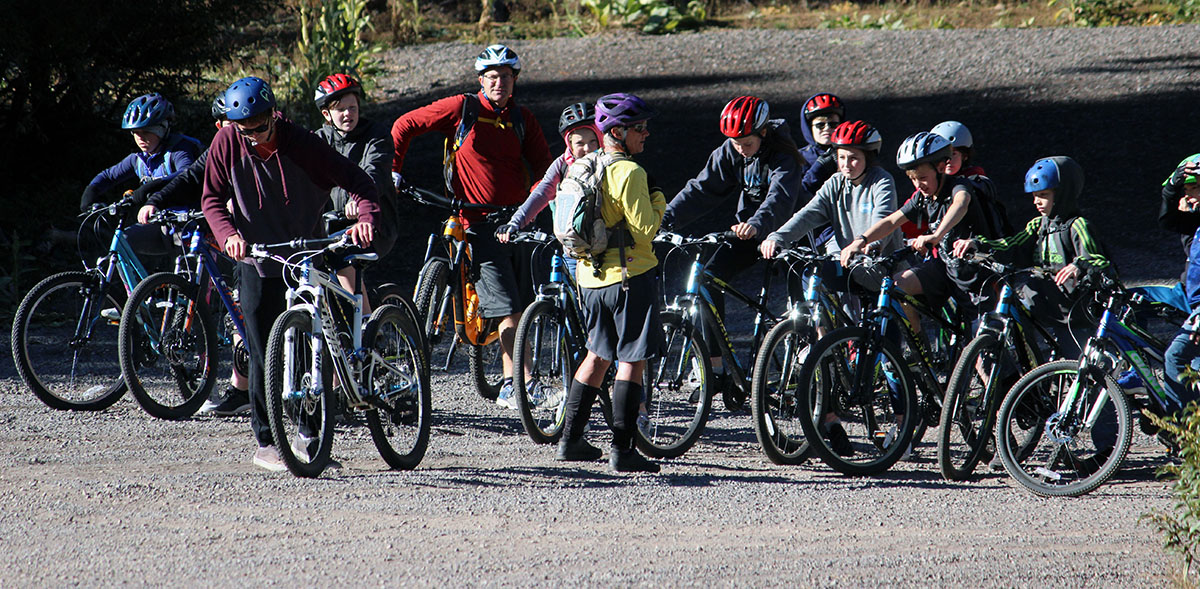 Elementary students prepared to ride the trail along Shoalwater Bay during a 7.5-mile mountain bike race Saturday as part of the Shasta Elementary School Mountain Bike Club.