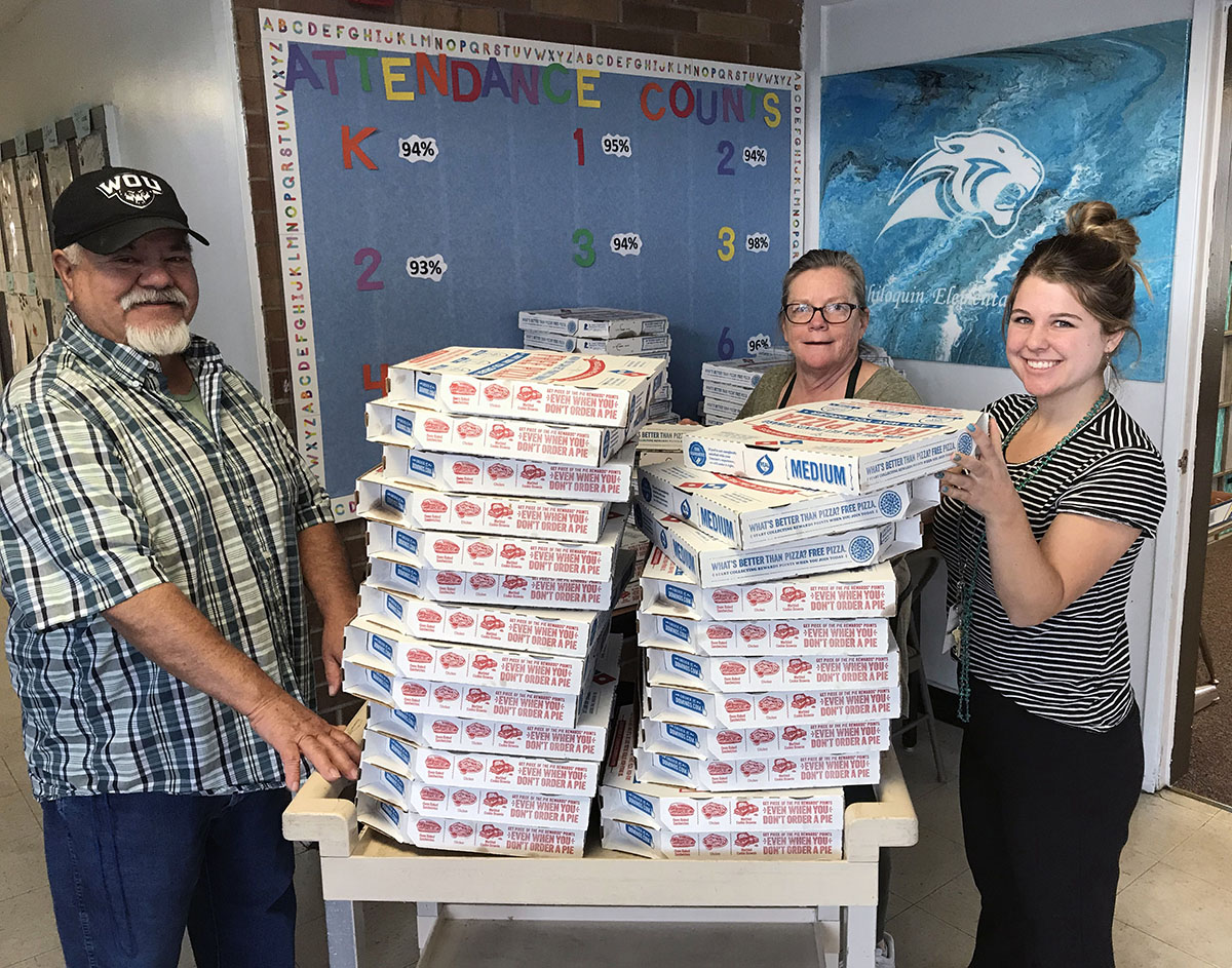 After the school kitchen was closed Monday and Tuesday for maintenance, 100 boxes of Domino's pizzas were delivered to Chiloquin Elementary School Tuesday in time for lunch. The school was closed Monday so crews could work on the kitchen. Classes resumed Tuesday, but was kitchen was still closed. It reopened Wednesday on a normal schedule.