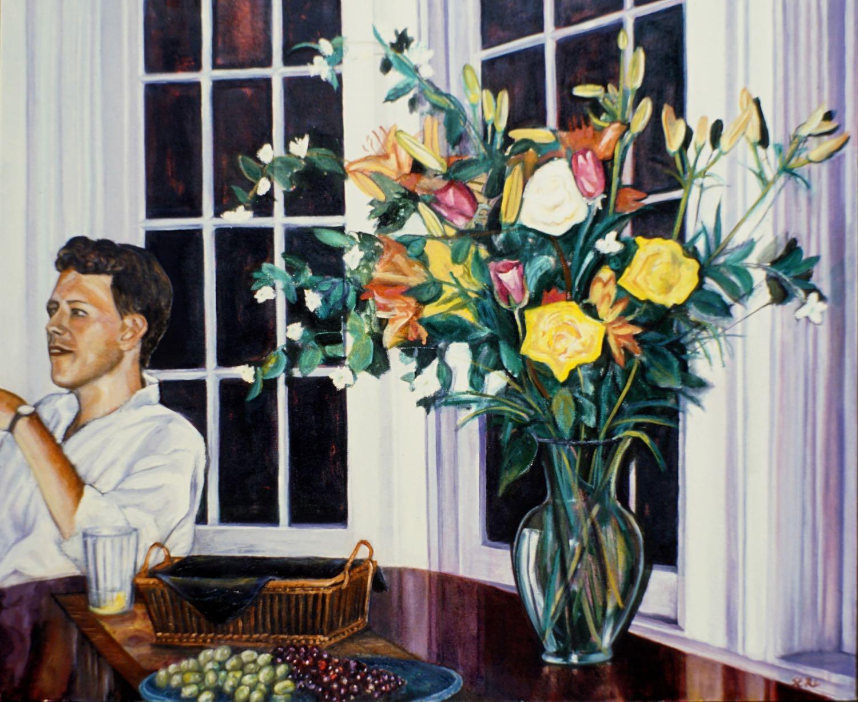 "Flower Party, 33"" x 40"" oil/canvas"