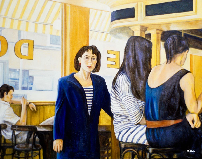 "Stripes Cafe, 30"" x 38"" oil/canvas"